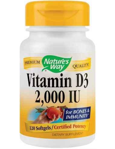 Vitamina D3 120 cps Secom, Vitamin D3 2000UI 120 capsule Nature's Way Ajuta la functionarea normala a sistemului imunitar si la