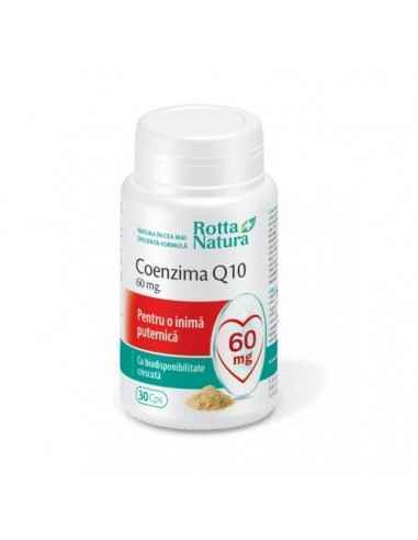 Coenzima Q10 60 mg 30 capsule Rotta Natura, Coenzima Q10 60 mg 30 capsule Rotta Natura Coenzima Q10 este esentiala pentru produc
