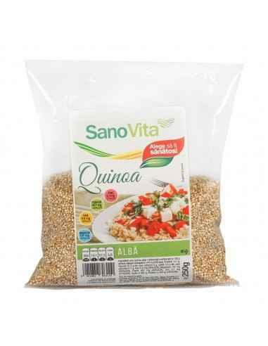 Quinoa Alba 250g Sanovita Quinoa este un tip de cereală bogată în proteine și aminoacizi care poate înlocui cu ușurință orice ti