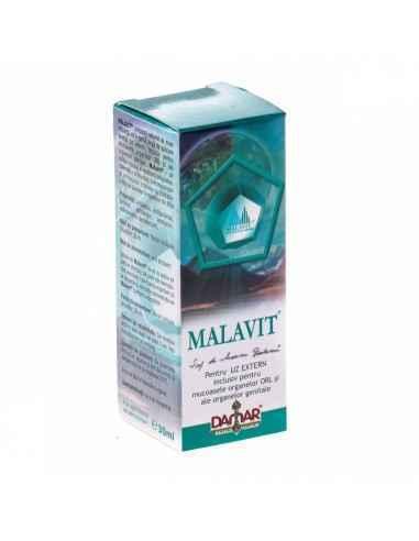 Lotiune Malavit 30 ml Damar MALAVIT este o lotiune care se foloseste extern si, de asemenea, la nivelul mucoaselor organelor ORL