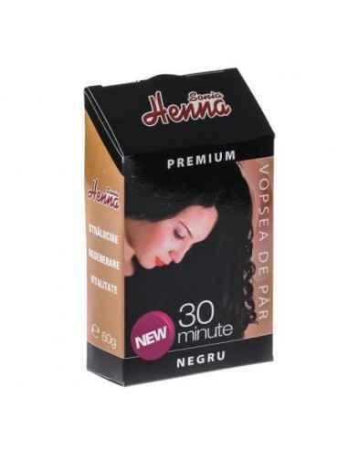 Vopsea par Henna Premium Negru  60gr Kian Cosmetics, Vopsea par Henna Premium Negru Colorant natural pentru par obtinut din frun