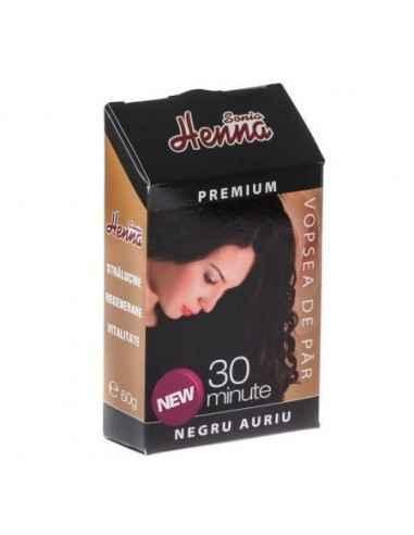 Vopsea par Henna Premium Negru Auriu 60gr Kian Cosmetics, Vopsea par Henna Premium Negru Auriu Colorant natural pentru par obtin