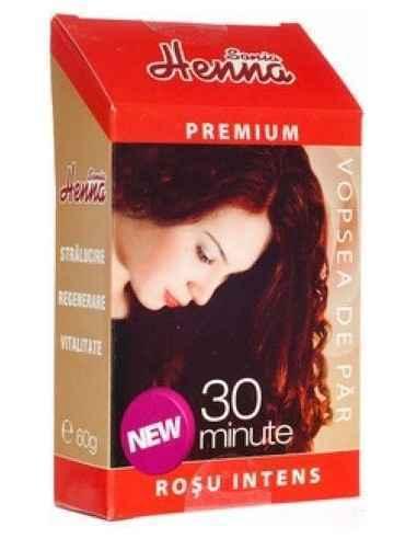Vopsea par Henna Premium Rosu Intens 60gr Kian Cosmetics, Vopsea par Henna Premium Rosu Intens Colorant natural pentru par obtin