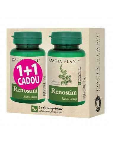 Renostim 60 comprimate 1+1 CADOU Dacia Plant Renostim comprimate este un produs natural recomandat pentru funcționarea normală a