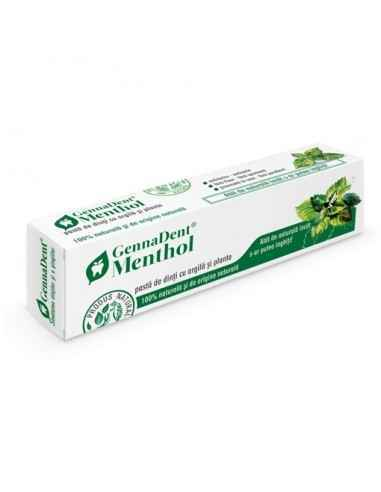 Pasta dinti GennaDent Menthol GennaDent – Menthol este o pastă de dinți 99,7% naturală, recomadată pentru utilizarea zilnică, ce