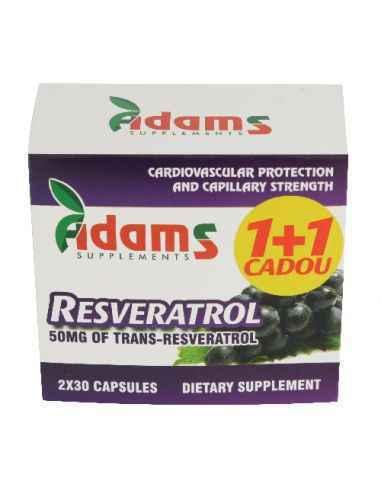 Resveratrol 50 mg 30 capsule 1+1 GRATIS Adams Vision Resveratrolul este un ingredient care se gaseste in agude negre, struguri n