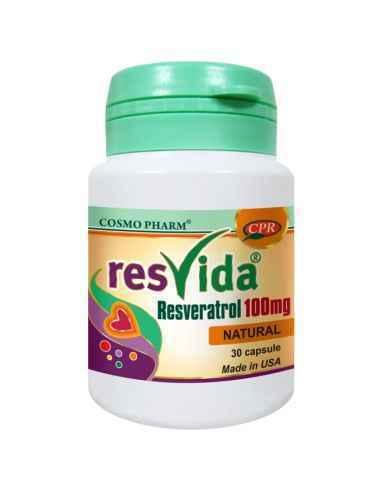 Resvida 100 mg Resveratrol 30 capsule Cosmo Pharm, Resvida 100 mg Resveratrol 30 capsule Cosmo Pharm Trans-resveratrolul este me