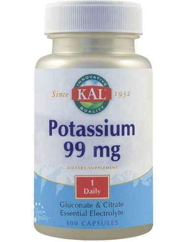 Potassium 99mg 100 capsule KAL, Potassium 99mg 100 capsule KAL Contribuie la sustinerea echilibrului electrolitic si mentinerea
