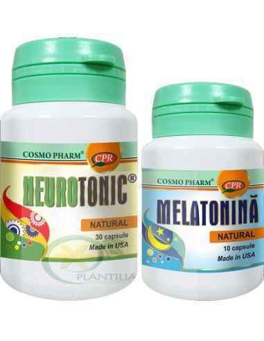 Neurotonic 30 capsule + Melatonina 10 capsule GRATIS Cosmo Pharm Tonic neruronal de exceptie sustine integritatea si sanatatea s