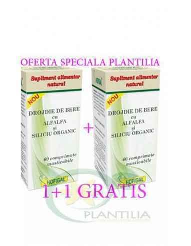 Drojdie de bere cu AlfAlfa si Siliciu Organic 60 comprimate 1+1 GRATIS Hofigal Supliment alimentar, usor asimilabil, realizat pr