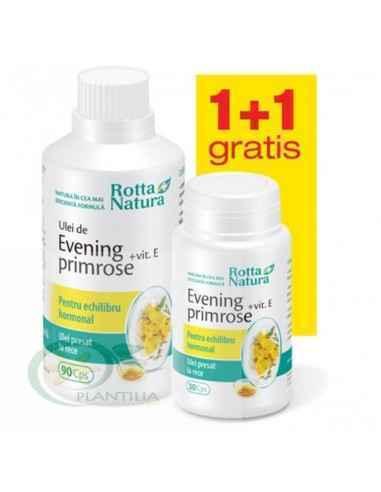 Evening Primrose + Vitamina E 90 capsule + 30 capsule GRATUIT Rotta Natura, Evening Primrose + Vitamina E 90 capsule + 30 capsul