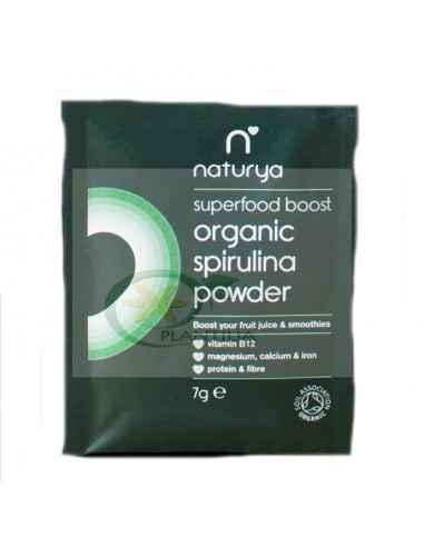 Spirulina Pulbere Organica (BIO) Plic 7g Naturya Pulberea de spirulina provine dintr-o alga naturala (cyanobacteria) deosebit de