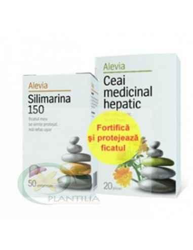 Silimarina 150 mg 50 comprimate + Ceai Hepatic 20 dz Alevia
