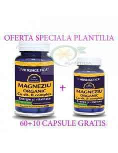 Magneziu Organic cu B Complex 60 +10 capsule GRATIS Herbagetica