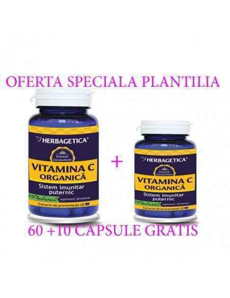 Vitamina C Organica 60 + 10 capsule GRATUIT Herbagetica