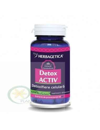 Detox Activ 30 capsule Herbagetica, Detox Activ 30 capsule Herbagetica Are acțiune detoxifiantă, inhibă apetitul alimentar, regl