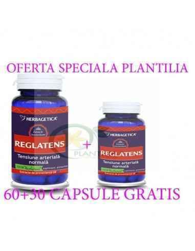 Reglatens 60 +60 capsule Herbagetica, Reglatens 60 +60 capsule Herbagetica Reduce nivelul tensiunii arteriale, vasodilatator, st