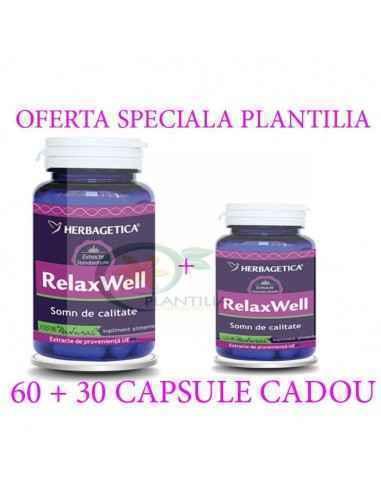 Relax Well(Somn) 60 + 60 capsule Herbagetica, Relax Well(Somn) 60 + 60 capsule Herbagetica Relax Well are efecte de îmbunătățire