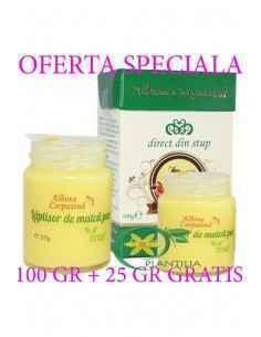 Laptisor de matca pur 100 g + 25 g GRATIS Albina Carpatina, Laptisor de matca pur 100 g + 25 g GRATIS Albina Carpatina Pachetul