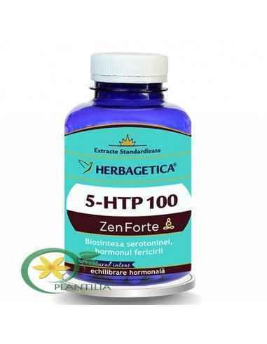 5 HTP 100 Zen Forte 120 capsule Herbagetica Griffonia Simplicifolia este o plantă foarte bogată în 5-hidroxitriptofan (5-HTP), o