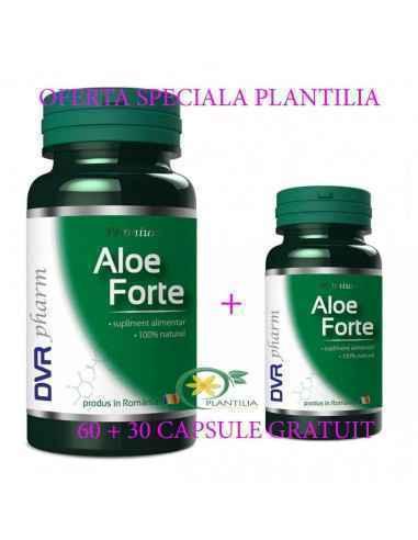 Aloe Ferox Forte 60+30 capsule GRATUIT DVR Pharm Conține suc granulat dintr-o varietate de Aloe ferox extrem de bogată în princi