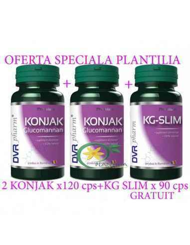 Pachet Konjack( Glucomannan) 120cps X 2 flacoane + KG Slim 90cps GRATUIT DVR Pharm