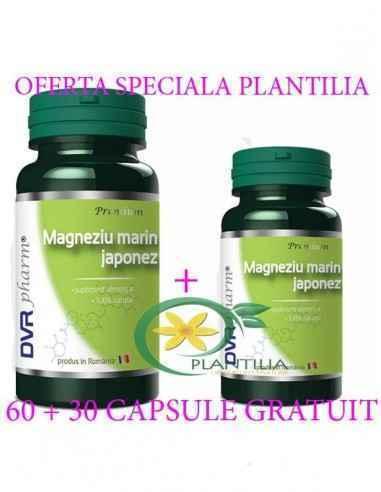 Magneziu Marin Japonez 60 + 30 capsule DVR Pharm Magneziul este un excelent tonic nervos, previne tulburările psihice, ajută la