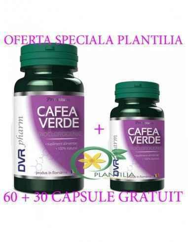 Pachet Cafea Verde 60 + 60 capsule DVR PHARM Contribuie la buna funcționare a pancreasului, contribuie la normalizarea apetitulu