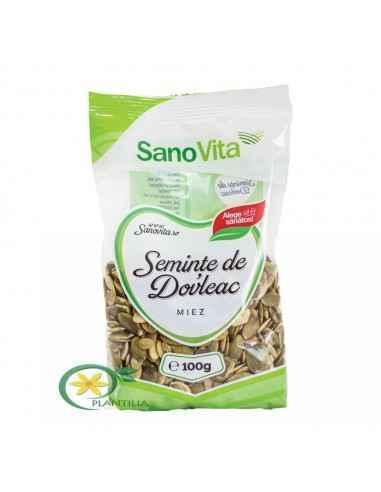 Seminte de dovleac 100 g SanoVita Bogate în antioxidanți şi betacaroten, semințele de dovleac crude îmbunătățesc memoria şi întă