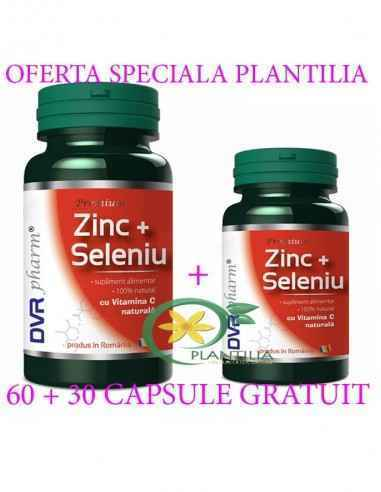 Zinc + Seleniu cu Vitamina C 60 + 30 cps GRATUIT DVR Pharm, Zinc + Seleniu cu Vitamina C 60 + 30 cps GRATUIT DVR Pharm Împreună,