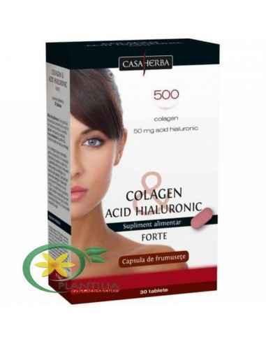 Colagen& Acid Hialuronic Forte 30 cps Casa herba Colagen & Acid Hialuronic Forte contribuie la eliminarea ridurilor sup