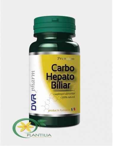 Carbo Hepato Biliar 60 cps DVR Pharm Supliment alimentar ce conține cărbune vegetal activat, împreună cu plante care reglează di