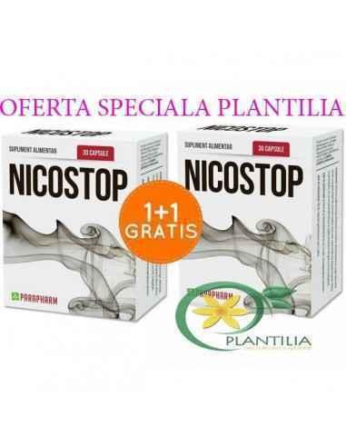Nicostop 30 cps Pachet 1+1 GRATUIT Parapharm Capsulele Nicostop conțin o combinație de plante care diminuează stresul creat de r
