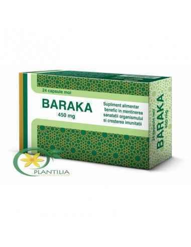 Baraka 450 mg 24 cps Pharco Baraka conţine uleiul obţinut din presarea seminţelor de Nigella sativa (Negrilică), o plantă cu o l