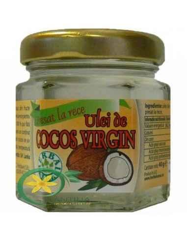 Ulei de Cocos Virgin 40 ml Herbavit Uleiul de cocos se extrage din pulpa albă a nucii de cocos, care se zdrobeşte, se încălzeşt