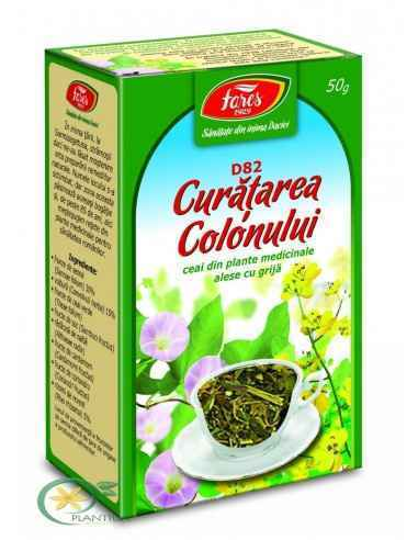 Ceai medicinal curatare colon D82 50 g FaresFavorizează eliminarea toxinelor şi curăţarea colonului prin stimularea peristaltism