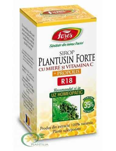 Sirop Plantusin Forte cu Miere si Propolis R18 100 ml Fares Contribuie la eliminarea disconfortului de la nivelul căilor respira