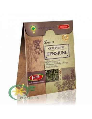 Ceaiul T C26 pentru Tensiune 50 g Fares Prin prezenţa în componenţa sa a troscotului şi sunătoarei, acest ceai are acţiune hipot