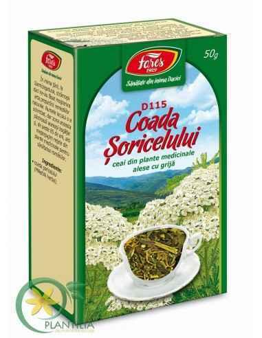 Ceai Coada Soricelului D115 50 g Fares Susţine digestia, contribuind la uşurarea acesteia şi la confortul digestiv.Ajută la redu