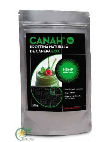Pudra proteica de canepa CANAH BIO 500g, PROTEINĂ NATURALĂ ECO DE CÂNEPĂ CANAH HEMP ESSENTIALSDESCRIERE:PROTEINA DE CÂNEPĂ este