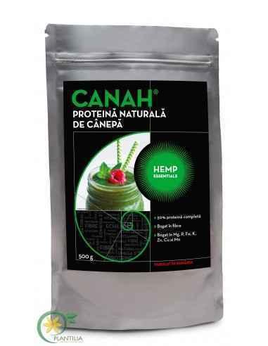 PROTEINĂ NATURALĂ DE CÂNEPĂ CANAH HEMP ESSENTIALSPROTEINA DE CÂNEPĂ este una dintre puţinele proteine vegetale complete (50%) ce