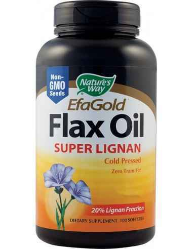 Flax Oil Super Lignan (acizi grasi Omega-3/6/9) 100 capsule moi Nature's Way