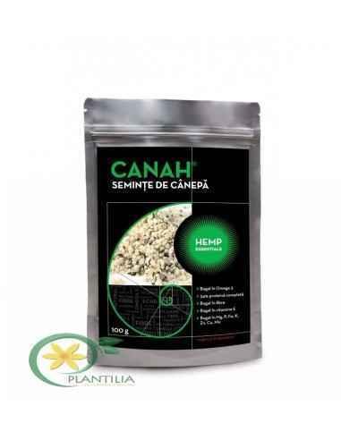 SEMINŢE DE CÂNEPĂ DECORTICATE 100 g CANAH, SEMINŢE DE CÂNEPĂ DECORTICATE CANAH HEMP ESSENTIALS 100 g Semințele de cânepă au un