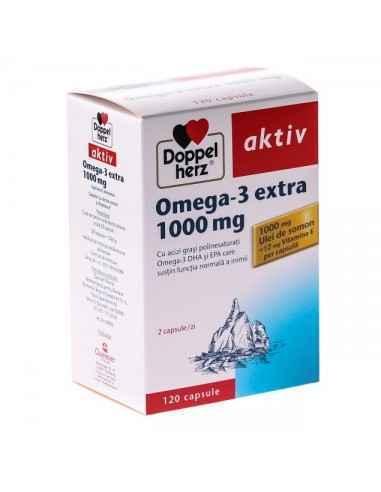 Omega 3 Extra 1000mg 120cps  Doppel Herz, Omega 3 Extra 1000mg Ulei de somon concentrat pentru sanatatea sistemului cardiovascul