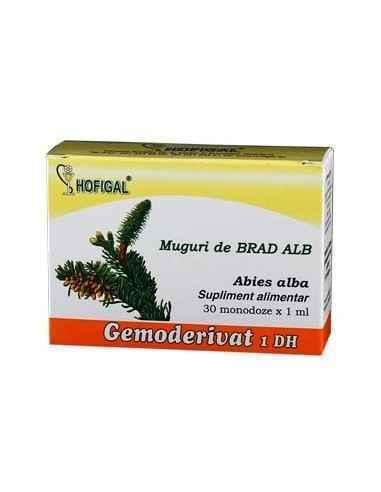 Gemoderivat din muguri de Brad alb Hofigal O monodoza contine 1,0 ml extract glicerinohidroalcoolic diluat 1 DH din muguri proas