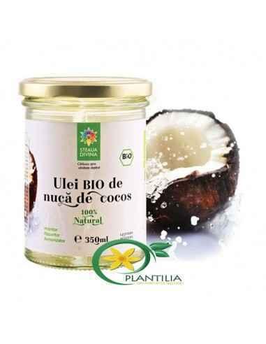Ulei cocos 350 ml BIO Steaua Divina Din compozitia uleiului de cocos fac parte vitamina E, vitamina K, fierul, fitosteroli, aci