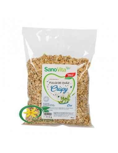 Fulgi de ovaz Crispy 500g Sanovita  În fulgii de ovăz se găseşte o cantitate apreciabilă de fibre alimentare şi carbohidraţi. Su
