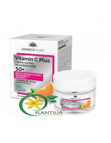 Crema Antirid Regeneratoare 50+ Vitamin C Plus Cosmetic Plant 50ml Vitamina C Tetra, o formă stabilă a vitaminei C clasice, pă