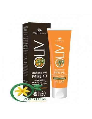 Crema Protectoare Fata SPF50 Cosmetic Plant,   Cremă protectoare pentru față OLIV cu SPF50 cu ulei de măsline, ceai verde, vit.