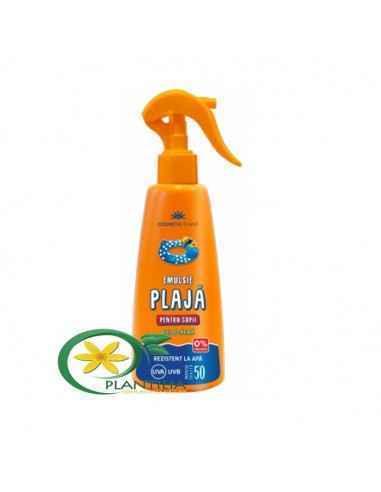 Emulsie plajă rezistentă la apă pentru copii cu ulei de cătină SPF50 Cosmetic Plant 200 ml  Emulsia pentru plajă rezistentă la